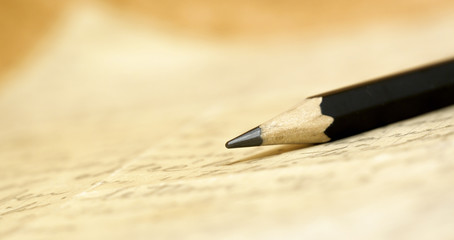 Web banner of a pencil on a handwritten letter with blank, copy space