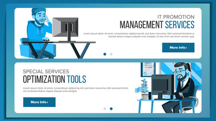 Website Banners Design Template Vector. Business Graphic. Responsive Banner Interface. Cartoon Team. Futuristic Strategy. Illustration
