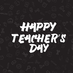 International Teacher day holiday greeting card. Vector.