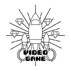 video game rocket launch diamonds vintage style grunge background vector illustration