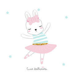Cute little bunny ballerina with lettering. Vector hand drawn illustration.
