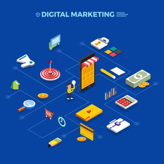 Flat design concept isometric digital marketing object. Vector illustrate.