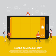 Flat design concept camera mobile. Group people develop icon camera mobile device. Vector illustrate..