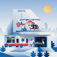 Hospital building with vehicles and people