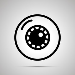 Simple black human eye icon with with shadow