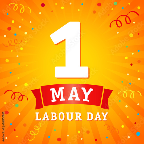 1 May Labour Day Banner Lettering 1st May With On Yellow Beams