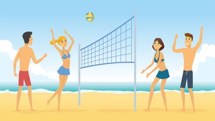 Beach volleyball - cartoon people character illustration