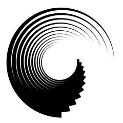 Spiral, vortex elements. Swirl, twirl shape on white