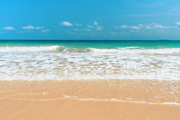 A tranquil sun and sea scene.