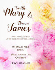 Floral invitation wedding template
