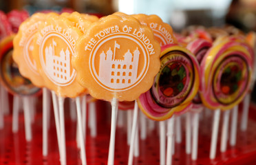 Candy lollipops are seen for sale in The Tower of London souvenir shop in London