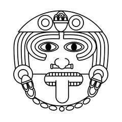 line aztec sun god culture symbol