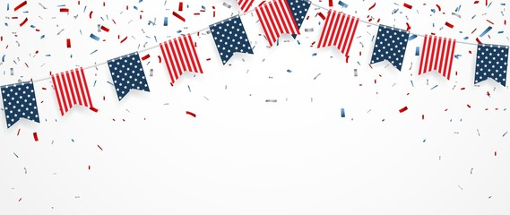 Independence day of america with confetti and ribbon
