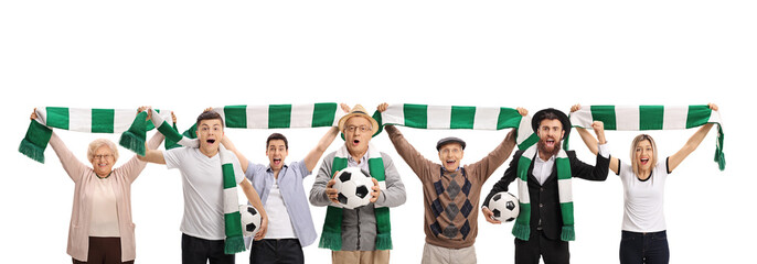 Excited soccer fans with scarfs and footballs