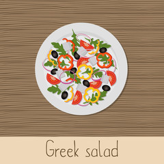 Greek salad. Plate with salad on a wooden background. Healthy eating concept. Vector illustration