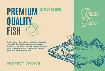 Premium Quality Zander. Abstract Vector Fish Packaging Design or Label. Modern Typography and Hand Drawn Pikeperch Silhouette Background Layout
