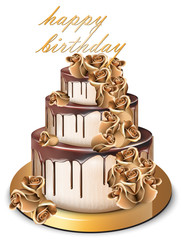 Happy Birthday golden cake Vector. Delicious dessert with gold roses flowers sweet designs