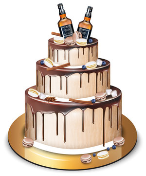 Happy Birthday delicious cake Vector. Whiskey bottles and macaroons decor. Modern sweets designs