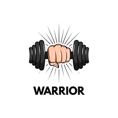 Dumbbell icon. Fist. Sport badge. Warrior inscription. Hand holding weight. Motivation poster. Vector.