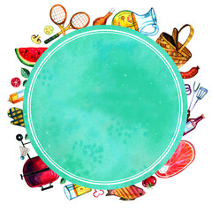 Hand drawn watercolor set of various  objects for picnic, summer eating out and barbecue with round green frame