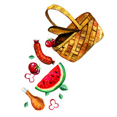 Hand drawn watercolor illustration with basket and food for picnic, summer eating out and barbecue