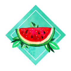 Hand drawn watercolor illustration with cartoon watermelon and leaves in green rectangular
