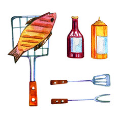 Hand drawn watercolor set of various  objects for picnic, summer eating out and barbecue - fish and  sauces