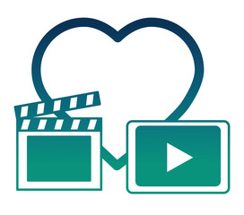 heart in love movie clapper board and video player button vector illustration  degraded color