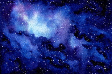 Watercolor Outer Space and Nebula