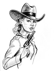 Pretty cowgirl with a gun. Ink black and white drawing