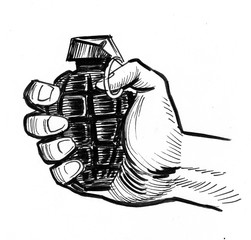 Hand holding a grenade