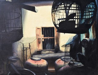 The silhouette of the bird in the cage has red jars with cream-colored wall and window in background,Captivity of creatures with wings, Oil painting on canvas