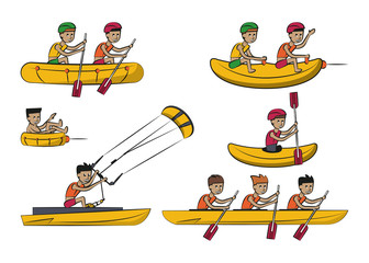 Water sports cartoons vector illustration graphic design