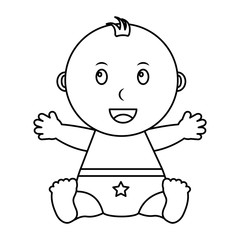 cute little baby boy sitting diaper with star vector illustration outline