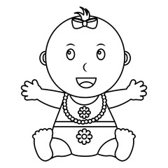 cute little baby girl sitting with necklace vector illustration outline