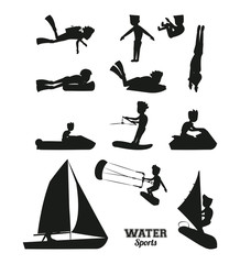 Water sports silhouette vector illustration graphic design