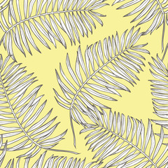 Jungle leaves seamless vector floral pattern background. Tropical palm leaves background. Vector illustration in trendy style.