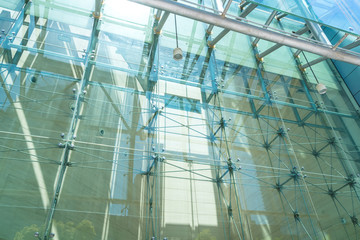 close up of modern glass building