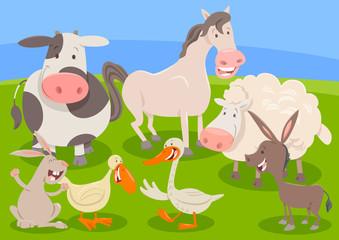 farm animal characters group cartoon