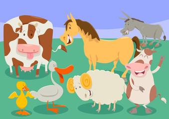 funny farm animal characters group cartoon