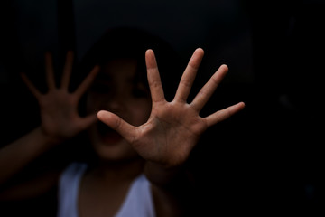 Stop abusing girl violence. child bondage in angle image blur , Human Rights Day concept.