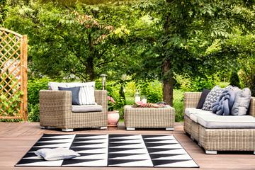 Rattan garden furniture during summer