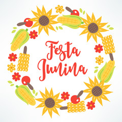 Festa Junina wreath with sunflower, apple, corn, leaves, flowers