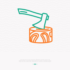 Axe in the stump thin line icon. Modern vector illustration of lumberjack's equipment.
