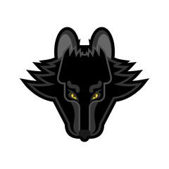 Wolf face logo symbol cartoon style. Head predator