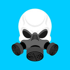 Skull in Respirator. Skeleton head and Gas mask green. Vector illustration
