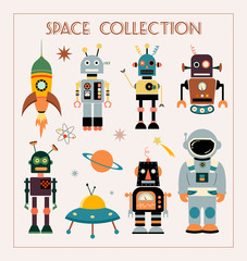 Space collection with vintage elements, vector design