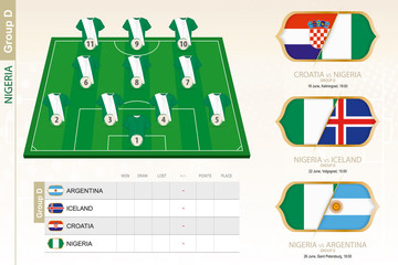 Nigeria football team infographic for football tournament.