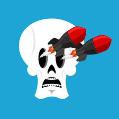 Skull and missile. Head of skeleton releases military rockets. War vector illustration
