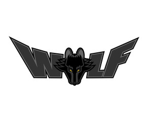 Wolf Lettering. Face predator and letters. Typography wild beast